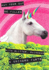Ticker Tape Greeting Card - Unicorn Farts