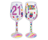 Bottom's Up Wine Glass - 21 Its My Birthday