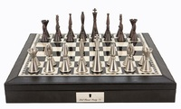 "Dal Rossi: Staunton Metal - 18"" Chess Set (PU Brown)"