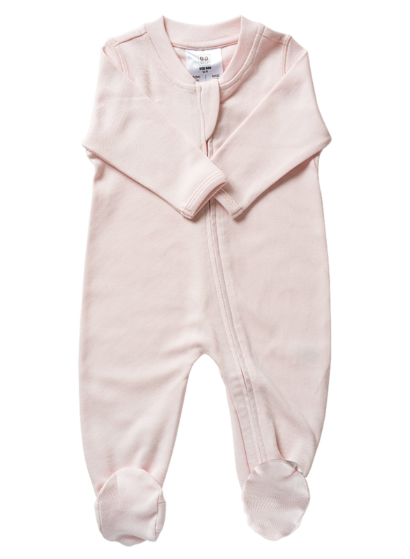 Babu: Organic All In One Zip with Feet - Shell Pink (0-3m)