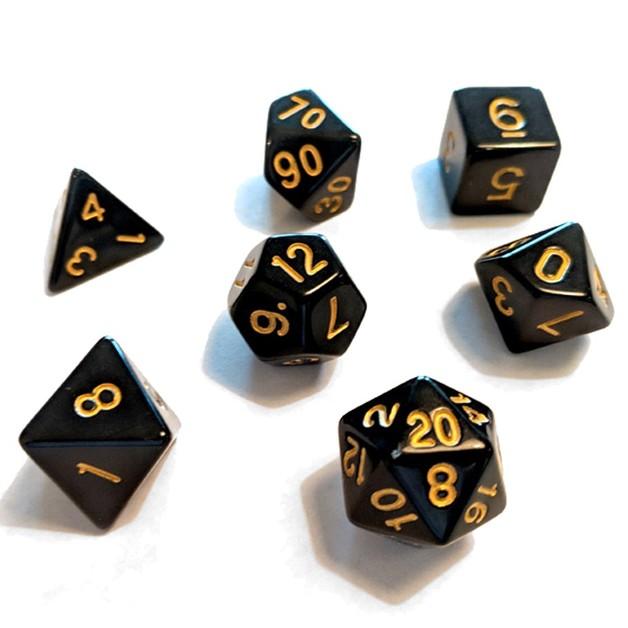 Sirius Dice Polyhedral Dice Set - Black/Gold