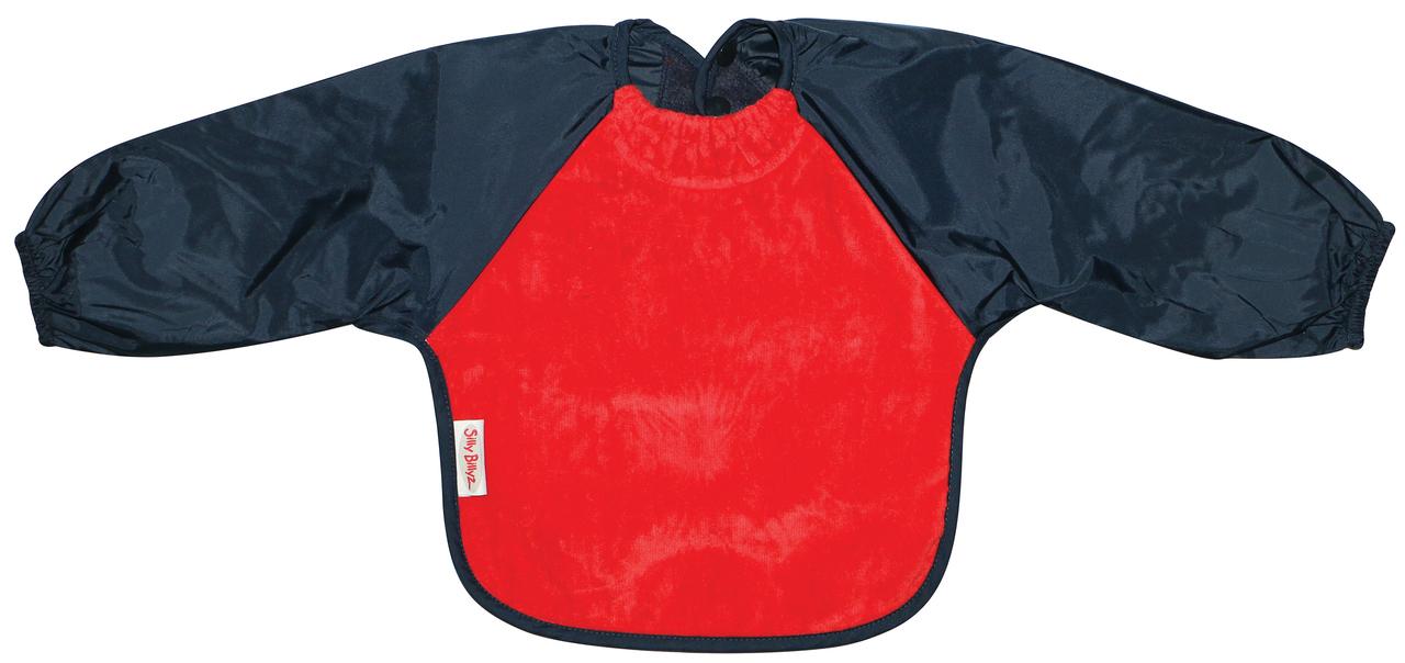 Silly Billyz Fleece Long Sleeve Baby Bib - Small (Red/Navy) image