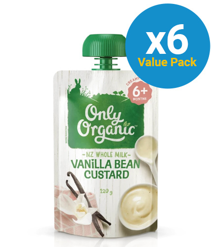 Only Organic: Stage 2 Custard Vanilla Bean (6 x 120g)