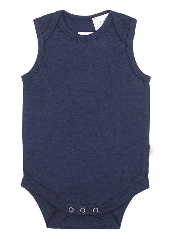 Babu: Merino Singlet Bodysuit - Navy (0-3m)