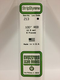 Evergreen Styrene Rod White 35cm Long X2.5 mm (5)