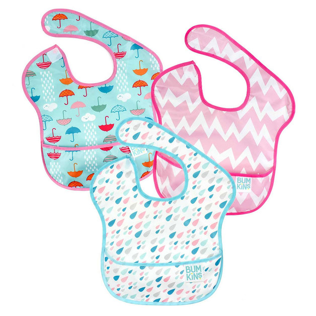 Bumkins: Waterproof SuperBibs - Raindrops/Umbrella/Chevron (3 Pack)