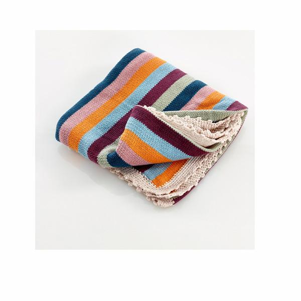 Pebble: Organic Crochet Edge Blanket - Multi Stripe