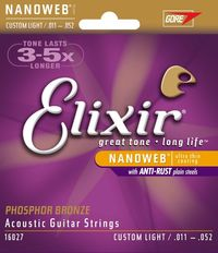 Elixir Custom Light 11-52 Phosphor Bronze NanoWeb Coating - Acoustic Guitar Strings