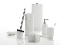 Urban Lines Ceramic Stoneware Toilet Brush Holder - White image