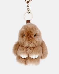 Belle and Bloom: Faux Fur Bunny Keychain - Brown image
