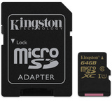 64GB Kingston - MicroSDXC Card with SD Adapter (Class 10 UHS-I Speed Class 1)