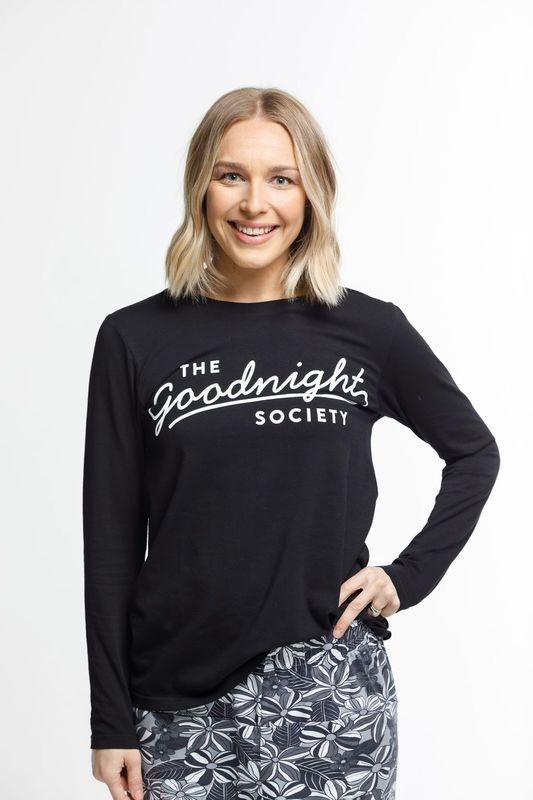 The Goodnight Society: Long Sleeve Tee Logo Print (Black) - XS