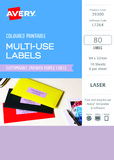 Avery L7264 Multi-Use Labels - Lavender (10 Sheets/80 Labels)