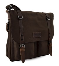 Troop London: Edison Waxed Canvas Messenger Bag - Dark Brown