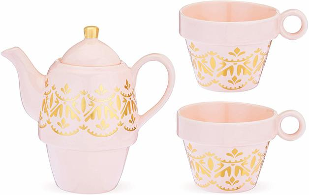 Pinky Up: Taylor Casablanca - Tea For Two (Pink/Gold)