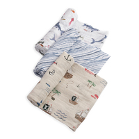Little Unicorn - Cotton Muslin Swaddle - Shark (3 Pack)