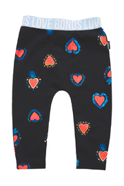 Bonds Stretchy Leggings - Heart of Hearts Black (6-12 Months)