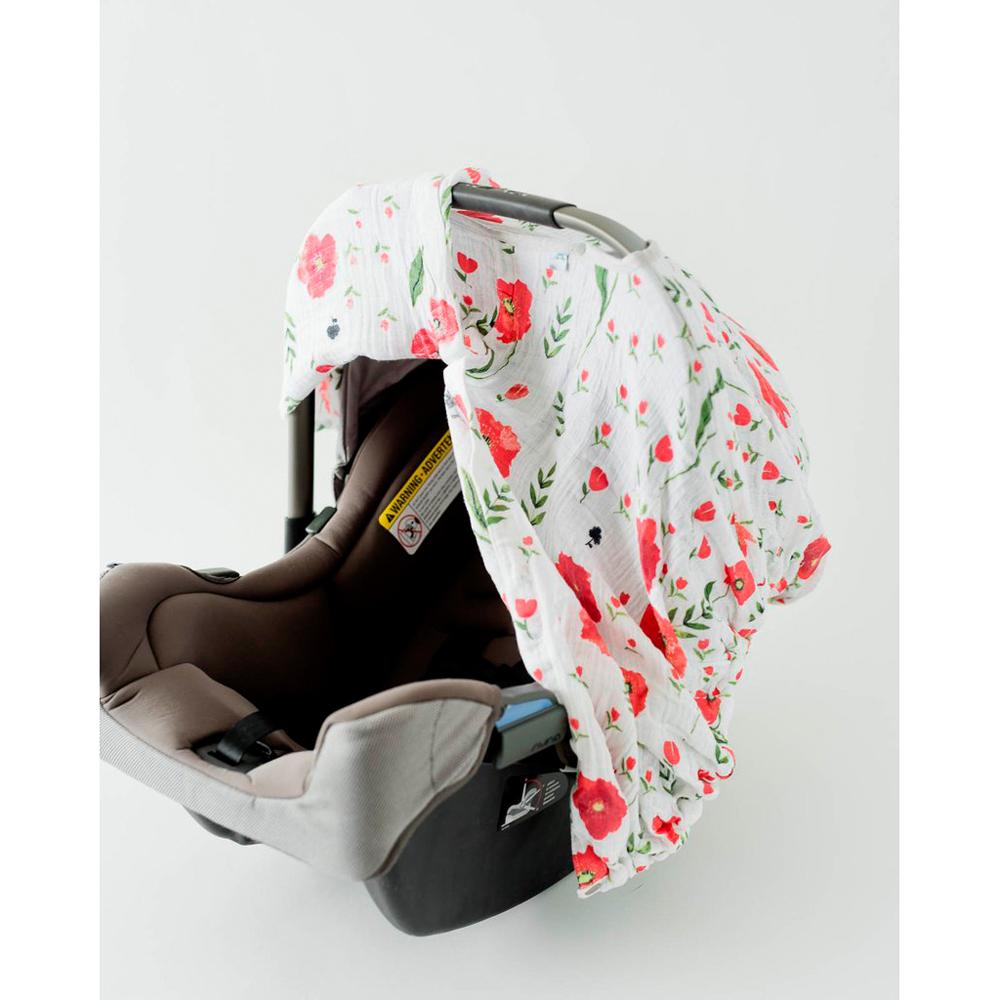 Little Unicorn: Muslin Car Seat Canopy - Summer Poppy image