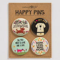 Natural Life: Happy Pin - Dog (Set of 4)