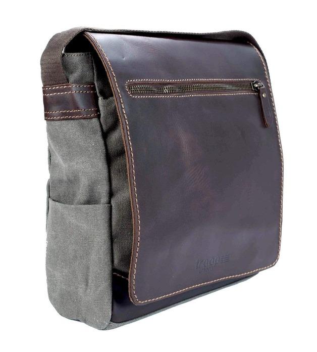Troop London: Endeavour Leather & Canvas Body Bag