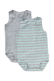 Bonds Wonderbodies Single Suit 2 Pack - Granite Marle and White Stripe/Inked Marle - 12-18 Months