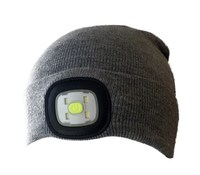 LED Beanie: High Power Waterproof Beanie (Light Grey)