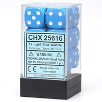 Chessex: D6 Opaque Cube Set (16mm) - Light Blue/White image