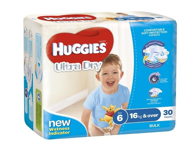 Huggies Ultra Dry Nappies Bulk - Size 6 Junior Boy (30)