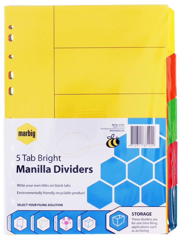 Marbig A4 Manilla 5 Tab Dividers - Brights
