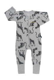 Bonds Ribby Zippy Wondersuit - Animal Party New Grey Marle (3-6 Months)