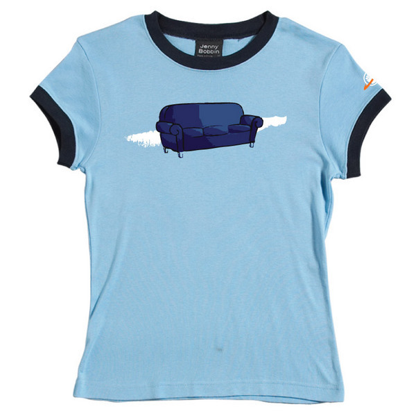 Couch - Female Ringer Tee (Sky Blue) for