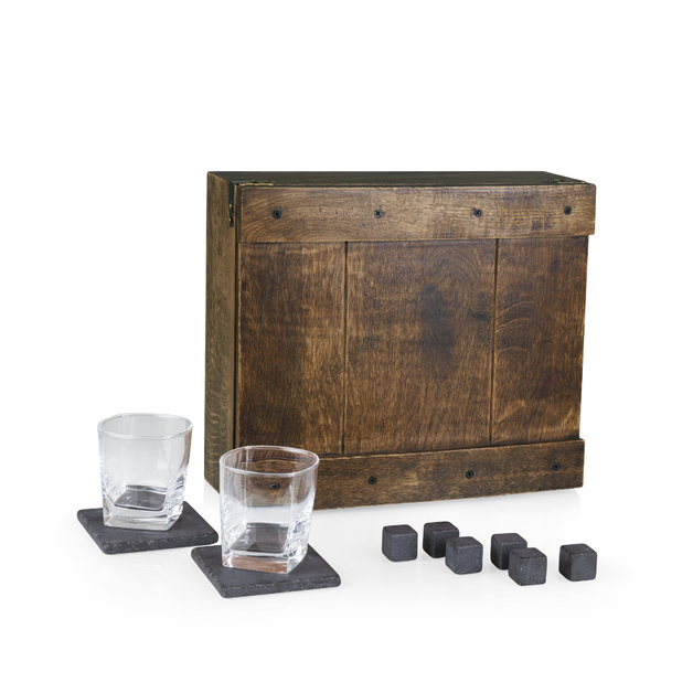 Picnic Time: Whiskey Box Gift Set (Oak Wood Case)