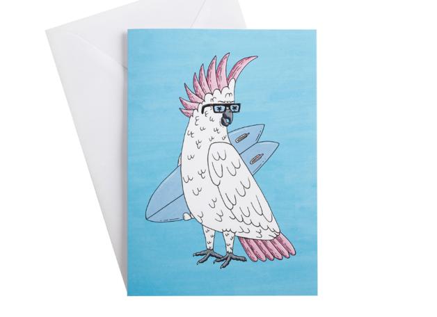 Mulga the Artist Greeting Card (Cockatoo)