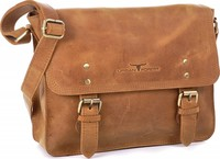 Urban Forest: Apache Small Leather Satchel Bag - Cognac