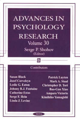 Advances in Psychology Research: v. 30