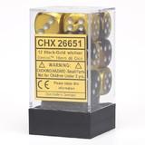Chessex Gemini 16mm D6 Dice Block: Black-Gold/Silver