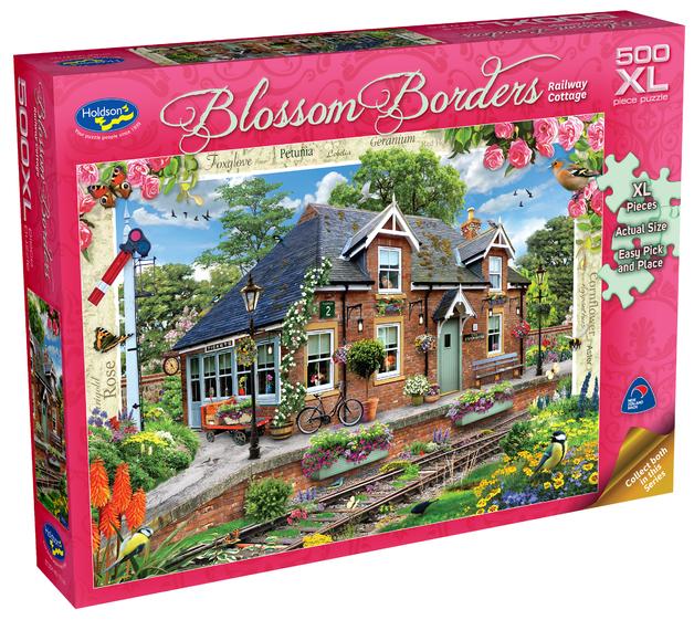 Holdson XL: 500 Piece Puzzle - Blossom Borders (Railway Cottage)