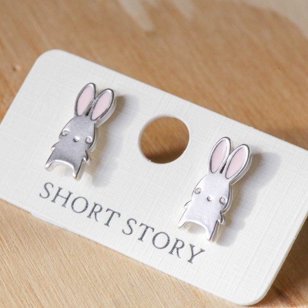 Short Story: Funky Play Earrings - Silver Bunny