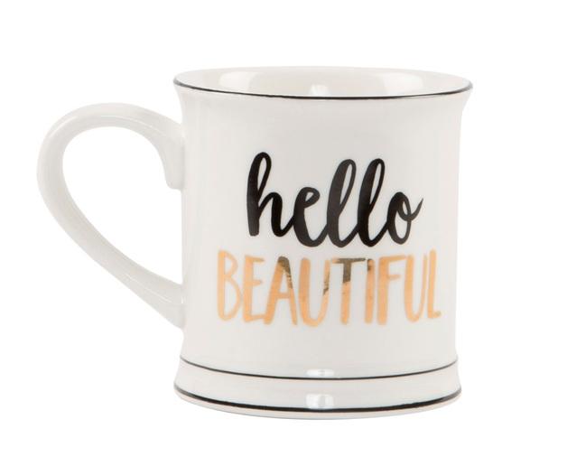 Hello Beautiful - Metallic Monochrome Mug