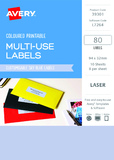Avery L7264 Multi-Use Labels - Sky Blue (10 Sheets/80 Labels)