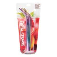 Rainbow Metal Drinking Straws (Set of 4)