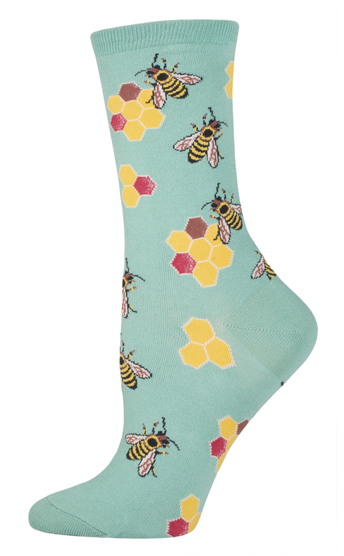 Socksmith: Women's Busy Bees Crew Socks - Seafoam