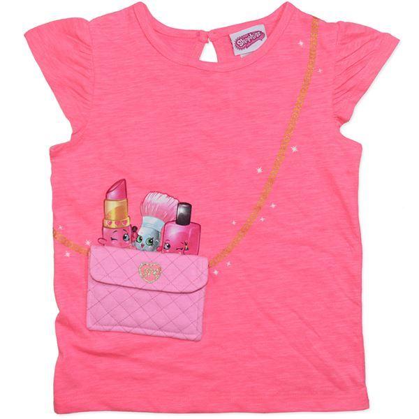 Shopkins Pink Pocket T-Shirt (Size 7) image