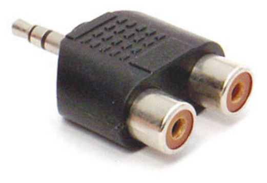 Pudney Adaptor - 3.5mm Stereo Plug to 2 x RCA Sockets