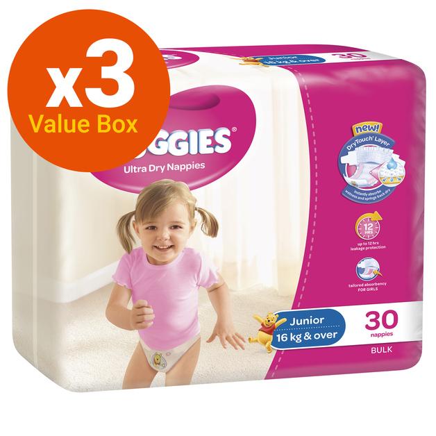 Huggies Ultra Dry Nappies Bulk Value Box - Size 6 Junior Girl (90)