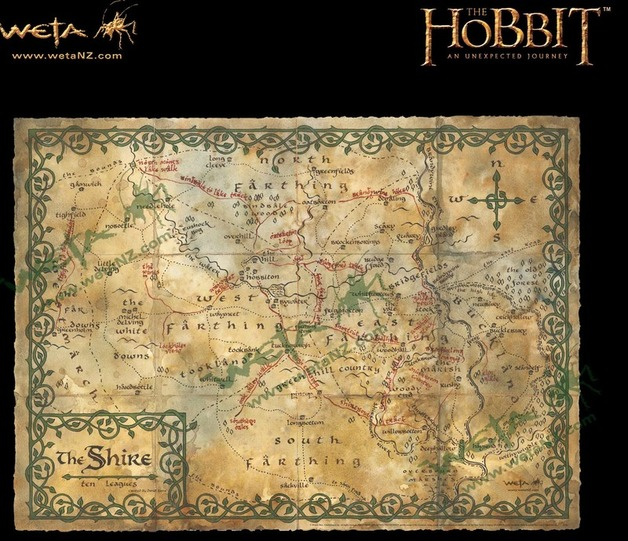 "The Hobbit 29"" Art Print: Map of the Shire - by Weta"