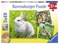 Ravensburger : Cute Bunnies Puzzle 3x49pc