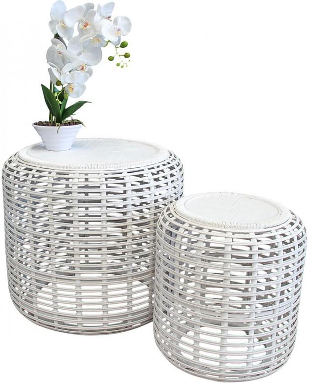 LaVida: Drum Tables Bamboo - Whitewash (Set of 2)