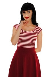 Retrolicious: Striped Boat Neck Top in Wine - (XL)