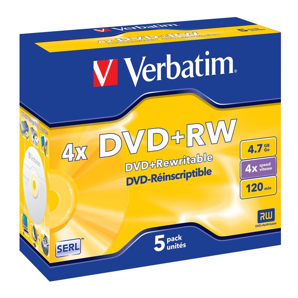 Verbatim DVD+RW 4.7GB Jewel Case 4x (5 Pack) image